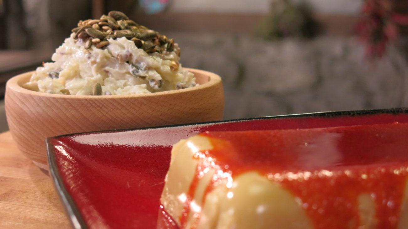 Pihtije od boba i salata od korenastog povrća