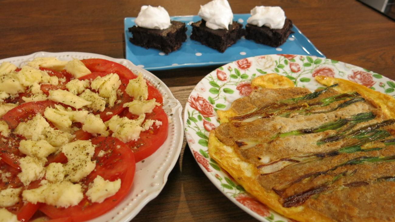 Braunis sa pasuljem, palačinke sa mladim lukom i kapreze salata