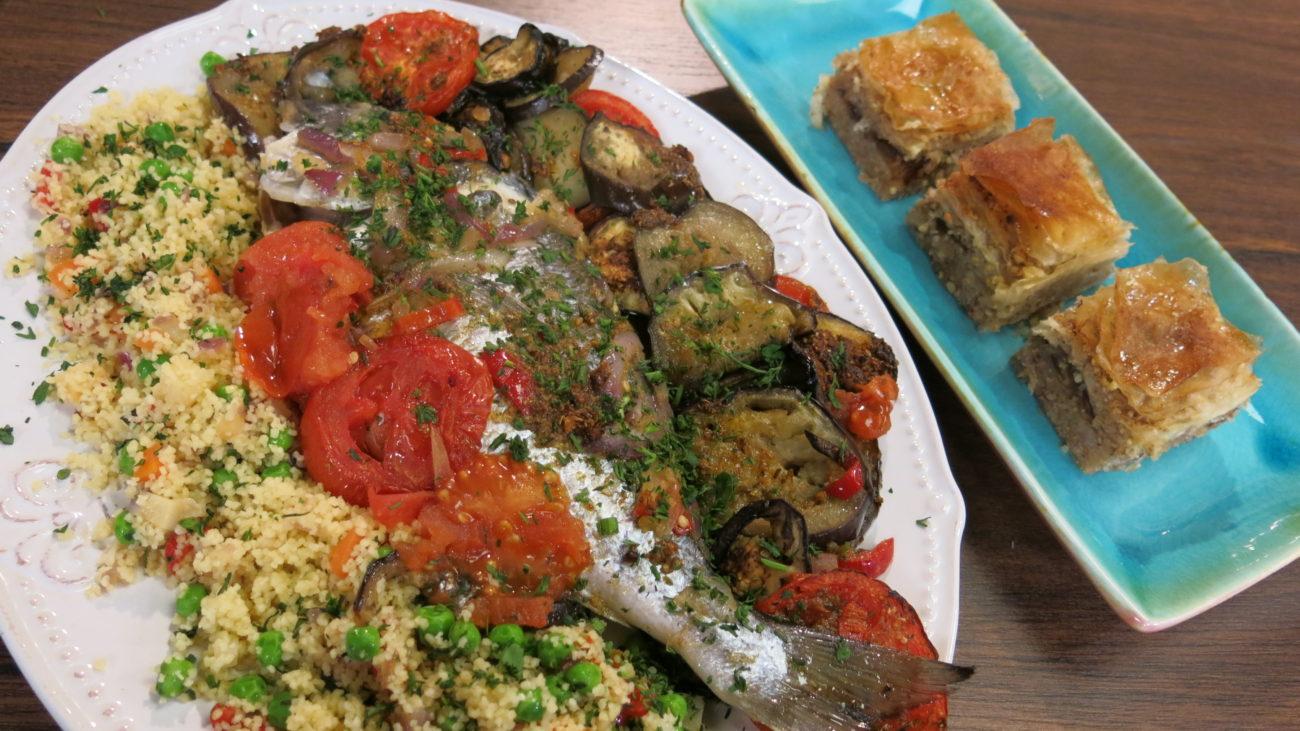 Orijentalna pečena riba, kuskus sa povrćem i baklava
