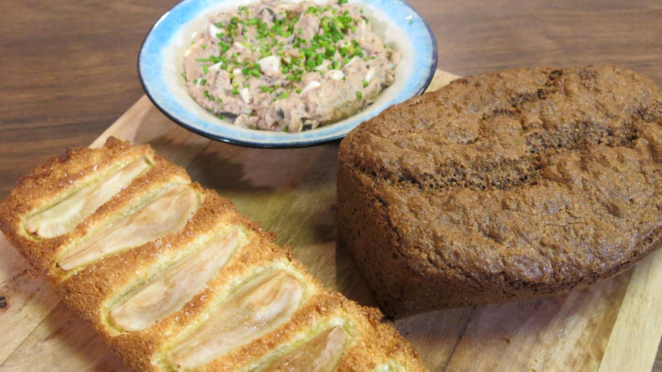 Lipo hleb bez glutena, pašteta od tunjevine i pasulja i tart sa kruškama
