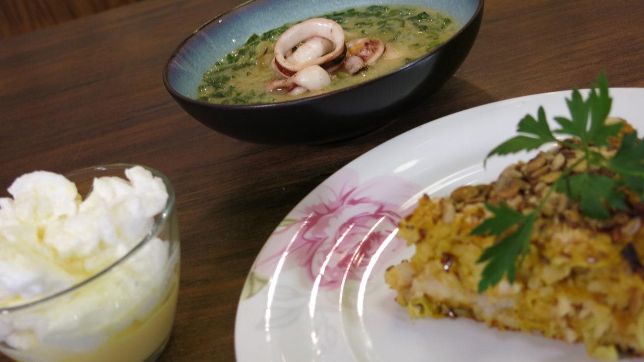 Složenac od kelja, supa od morskih plodova sa spanaćem i šnenokle