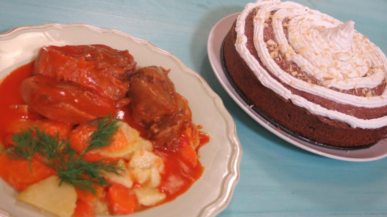 Kuvani jezik u sosu, dinstana šargarepa sa krompirom, čokoladna torta