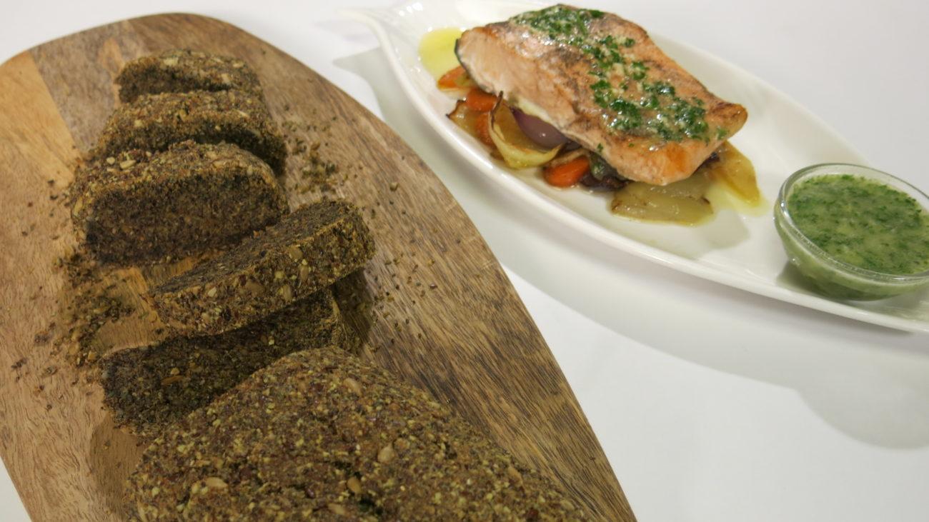 Lažni hleb sa lososom i pečenim povrćem